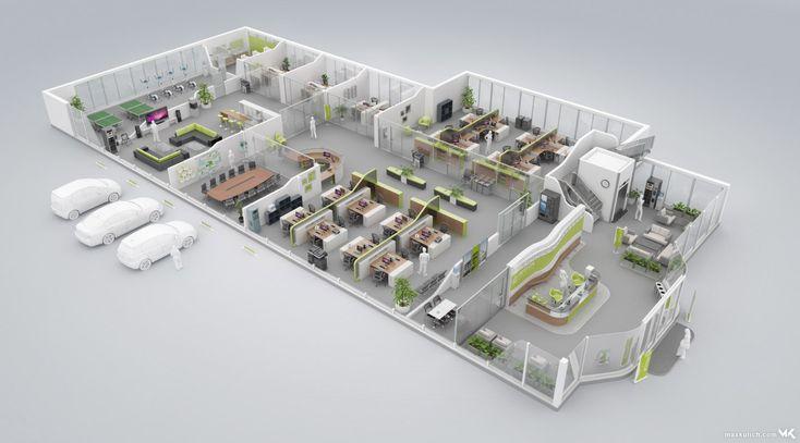 3D Floor Plan of a modern Green Office Floor 3D