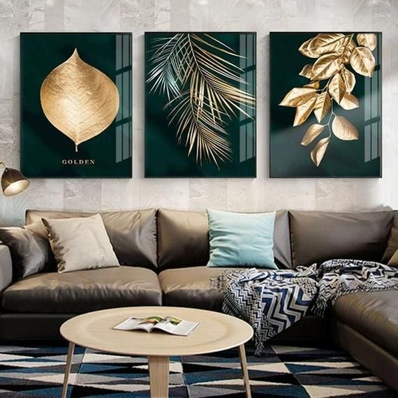 Wall Print Art Print Canvas Decoration Golden Plant Leaves Etsy In 2021 Living Room Pictures Living Room Art Wall Art Living Room