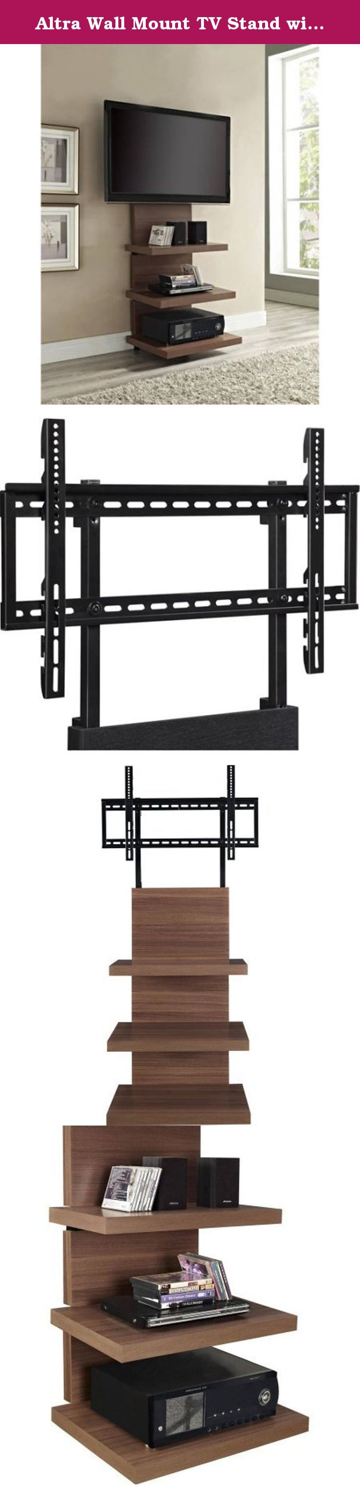 """Altra Wall Mount TV Stand with 3 Shelves, for TVs up to 60"""", 1186096, Walnut. The Altra Wall Mount TV Stand with 3 Shelves for TVs up to 60"""" is convenient, stylish and space saving. It is not only very simple to put together, it also lets you create a wire management solution all in one. There's no need to buy a mount and then pay more money for a TV stand because this design will do it all. The wall mount TV stand with shelves features a sturdy metal frame. It also has snap-on panels, so..."""