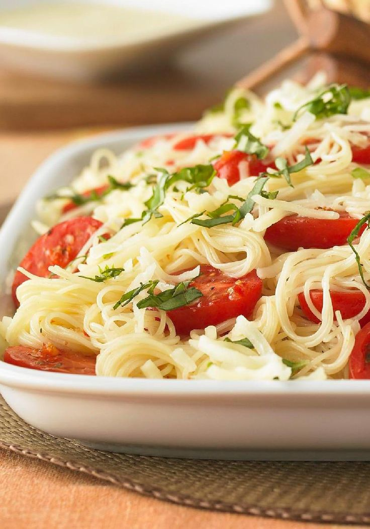 Capellini Caprese – Fresh tomatoes and basil are key to this dish's vibrant flavor. But it's the Italian dressing that really makes it sing. And you thought only a restaurant could pull this off.