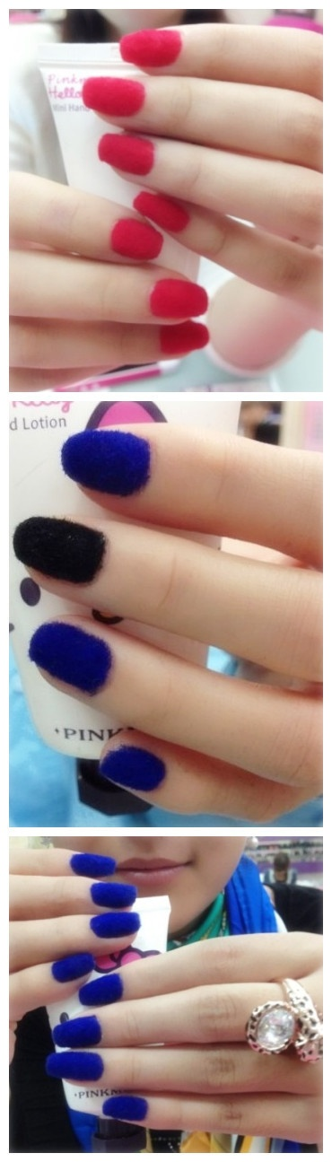 "Three examples of ""velvet"" (aka fuzzy) nails. Why does felt come to mind?"