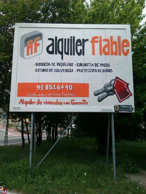 Rotulación carteles para Alquiler fiable, Madrid.