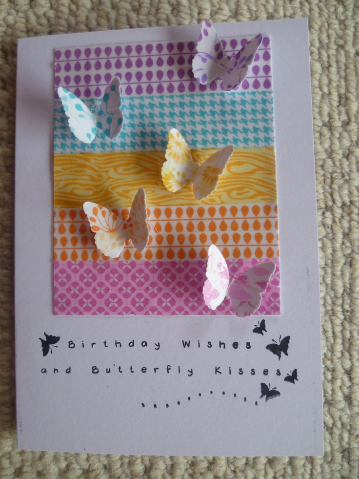 Card -  washi tape strips, butterflies punched from washi plus birthday greeting