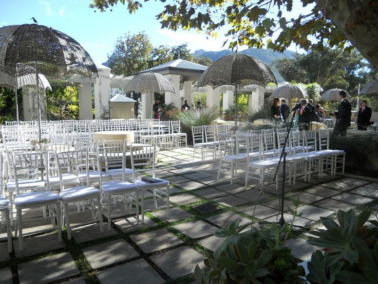 #Wedding #setup for ceremony in the Manor Tea Garden