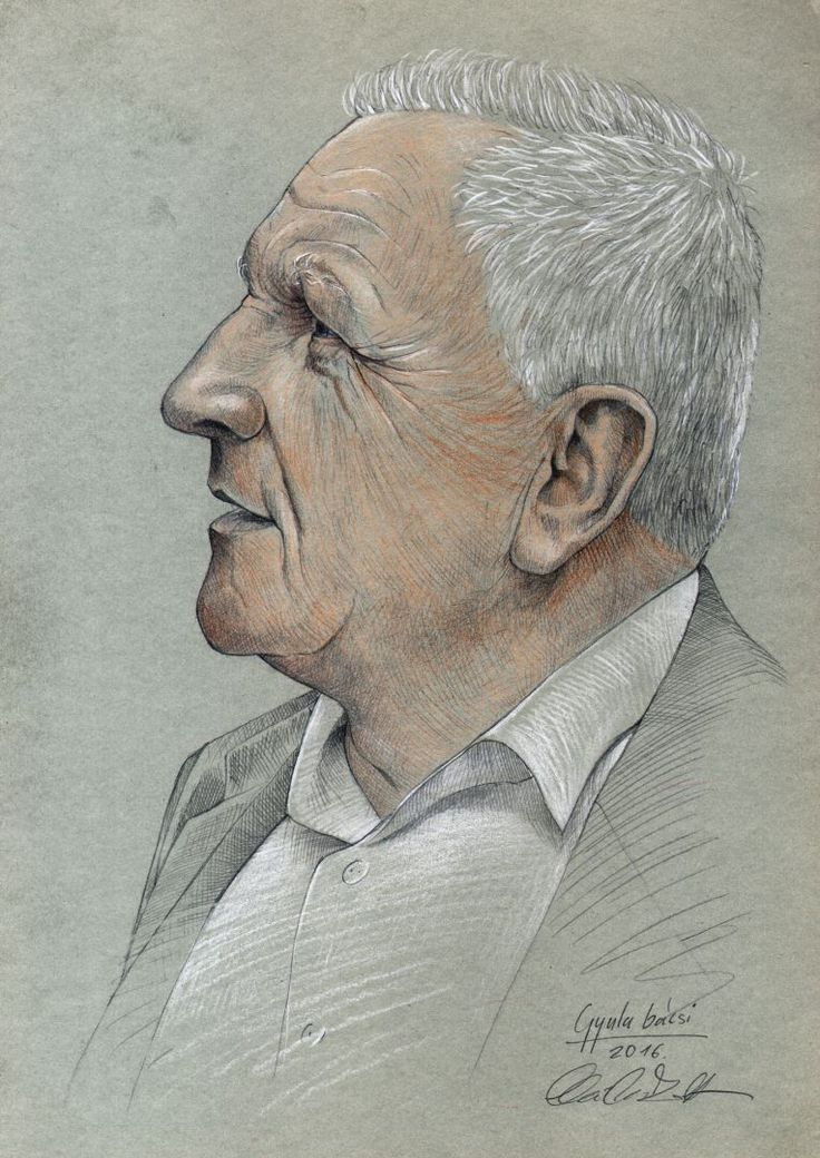 old man - colored pencil drawing