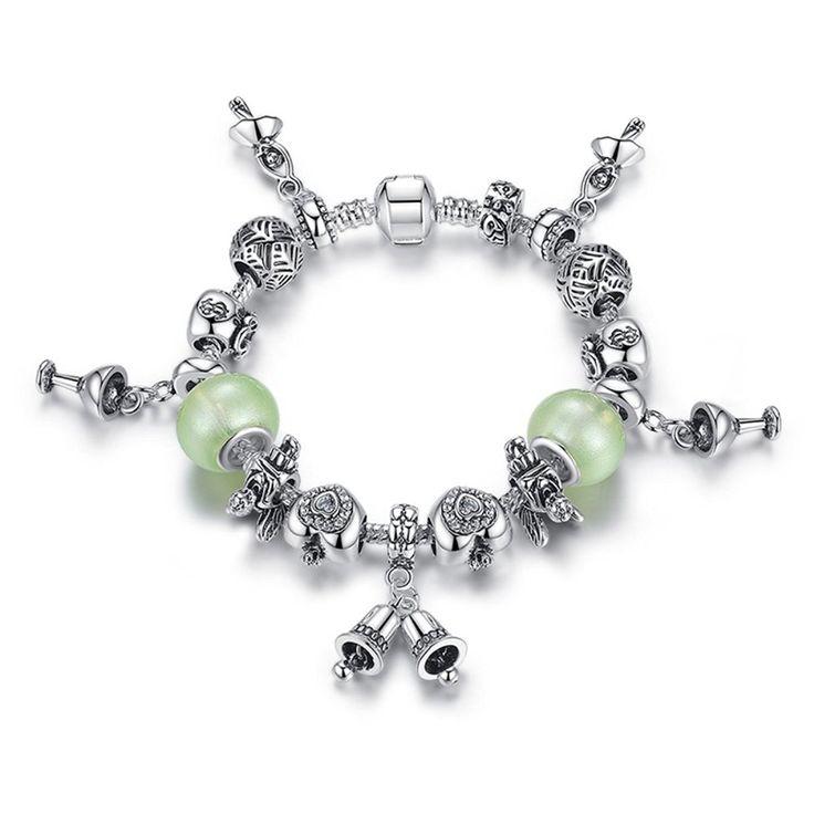 Pandora Element Bracelet Snowman Beads Charm Swarovski Crystal Bell Beaded Gold Plated Bracelets 20cm * Read more at the image link.