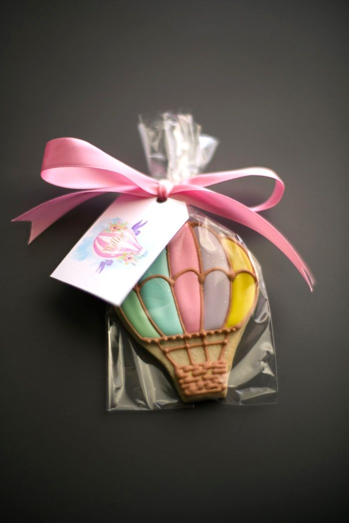 Hot air balloon cookie from an Up, Up & Away 1st Birthday Party on Kara's Party Ideas | KarasPartyIdeas.com (4)