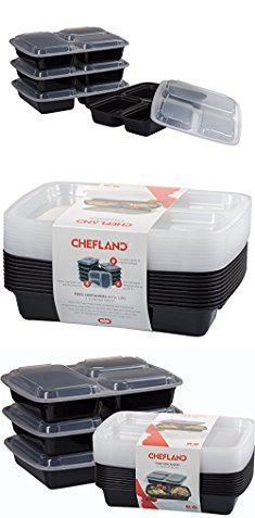 Disposable Plates With Lids Chefland 3 Compartment Microwave Safe Food Container Lid Divided Plate Bento Box Lunch Tray Cover Black 10 Pack
