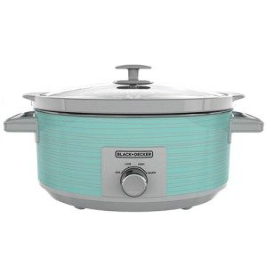 Black + Decker 7-Quart Slow Cooker:  Not only is this cooker great at its job but its also designed in such a way that it makes cooking fun. The cooker comes in teal color and is quite noticeable. It is so well designed that many people consider making it a permanent part of their display. In addition, the cooker has 3 different heat settings that are perfect for almost every recipe there is.