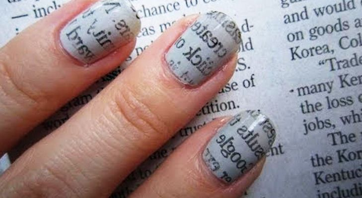 Newsprint on nails for a crazy book lover! #nailart