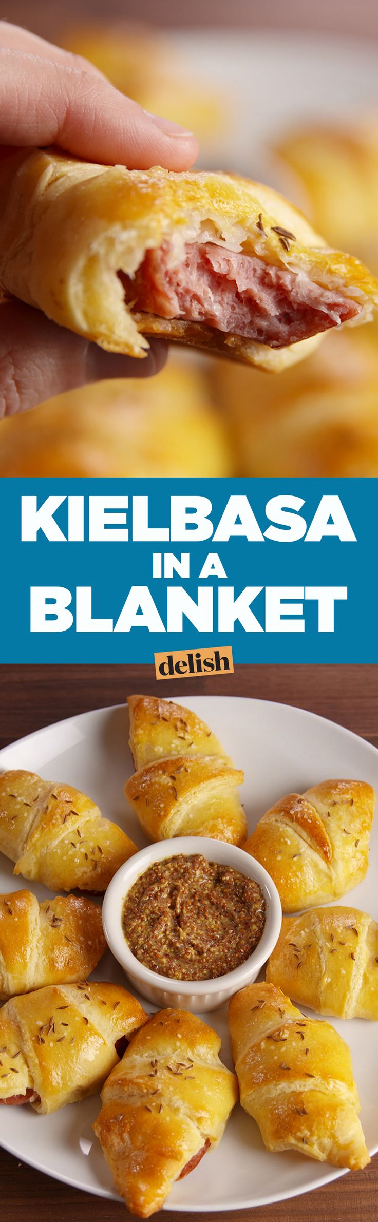 Kielbasa in a Blanket will send pigs in a blanket into retirement. Get the recipe on Delish.com.