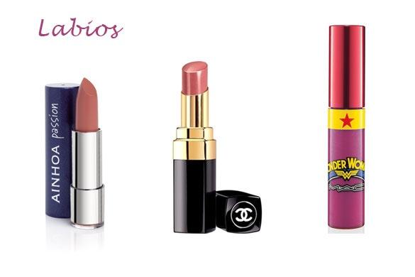 De izquierda a derecha: barra de labios de Ainhoa, lipstick de Chanel y brillo de MAC (línea