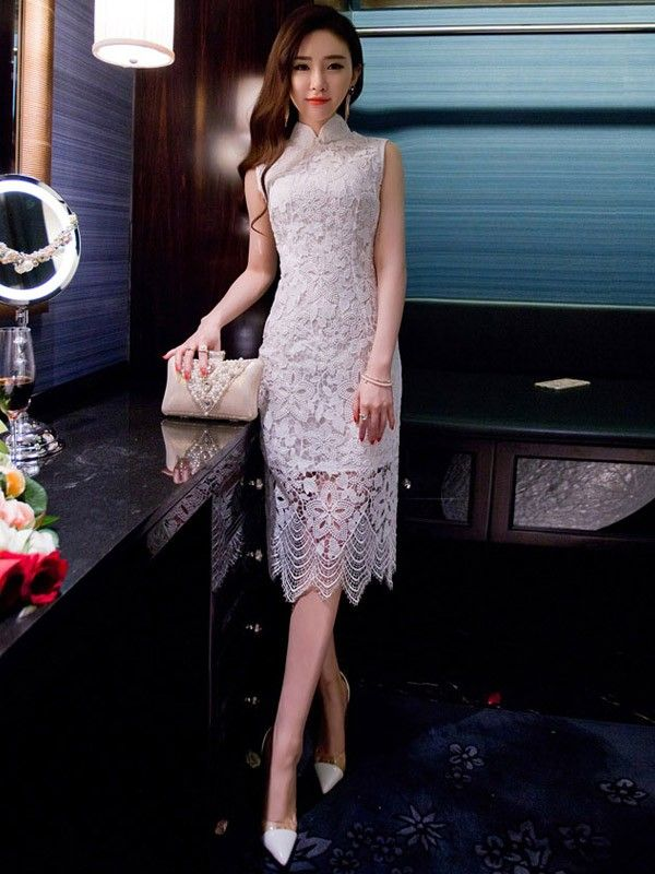 White Lace Qipao / Cheongsam Dress