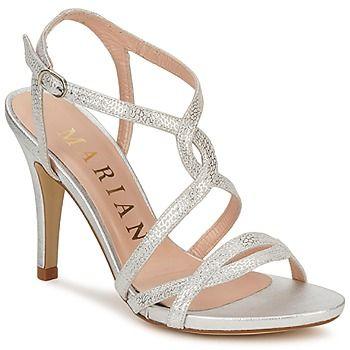 Schöne Riemen verzieren diese Sandale aus Leder von Marian. Der schöne Materialeffekt verleiht dem Modell eine kreative Note. - Farbe : Silbern - Schuhe Damen 99,45 €
