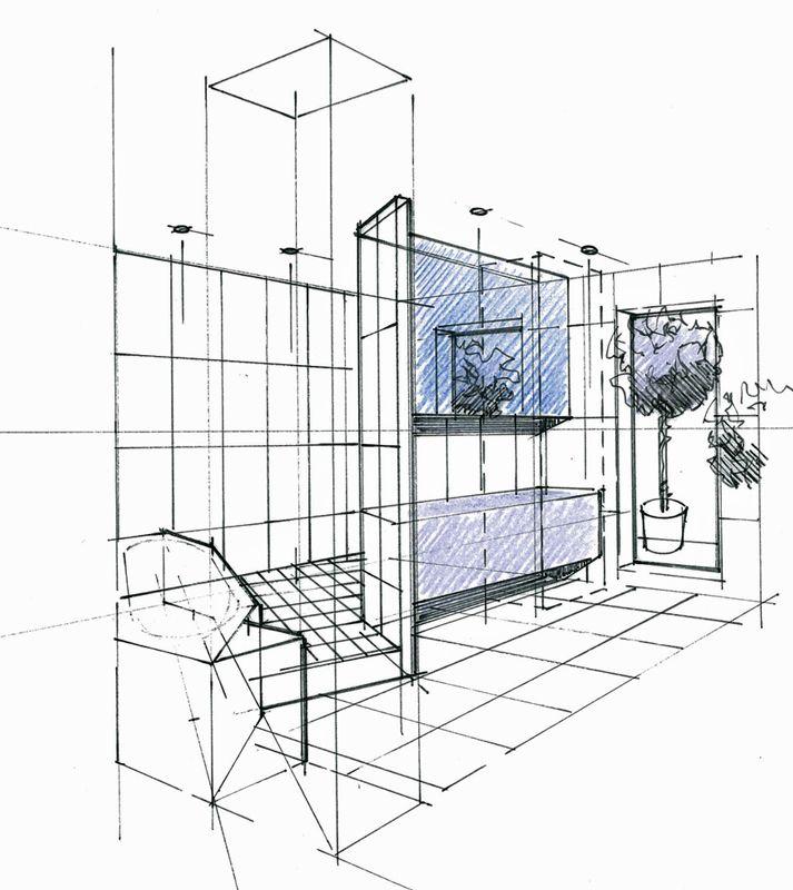 Croquis d 39 un concept salle de bains avec int gration de la for Croquis de salle de bain