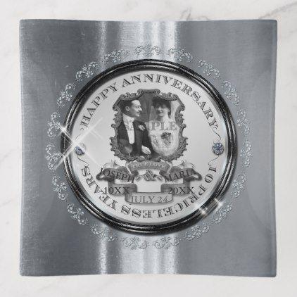 Vintage 10th Anniversary ID195 Trinket Trays - anniversary cyo diy gift idea presents party celebration