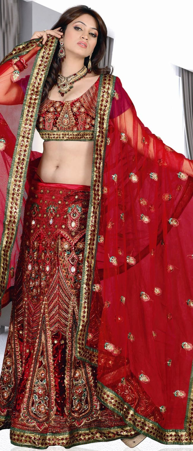 #Red Velvet A-Line #Lehenga Choli with Dupatta @ $180.80 | Shop @ http://www.utsavfashion.com/store/sarees-large.aspx?icode=ssl2027