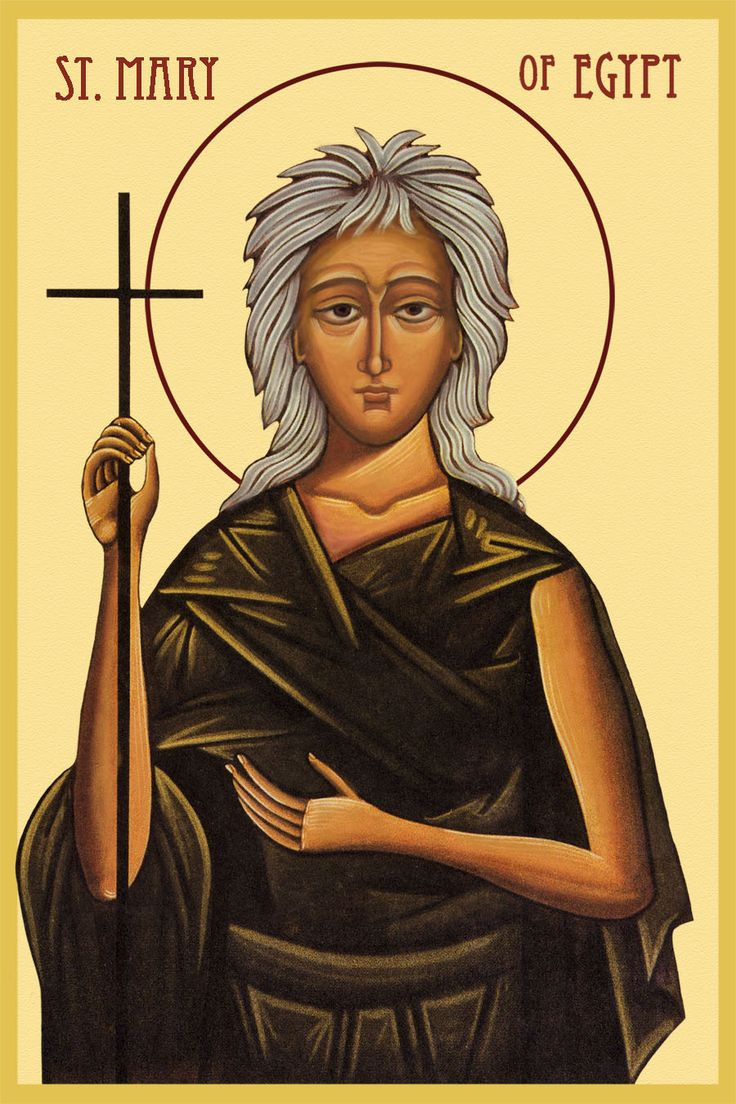 St. Mary of Egypt (Sunday April 1st) - Beautiful icon of St Mary. We heard her story tonight during the Great Canon. Always moves me to tears. <3