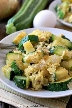 Zucchini and Eggs - A simple, delicious, classic Italian dish that our family called Cocozelle - named after the heirloom zucchini variety.  AFamilyFeast.com