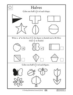 What is half? This coloring math worksheet introduces children to fractional parts by asking them to color in 1/2 of familiar shapes.