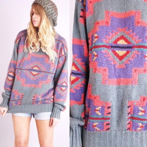 Vtg 80s Ralph Laurn Navajo Indian Country Hand Knit Jumper Blanket Coat Sweater | eBay