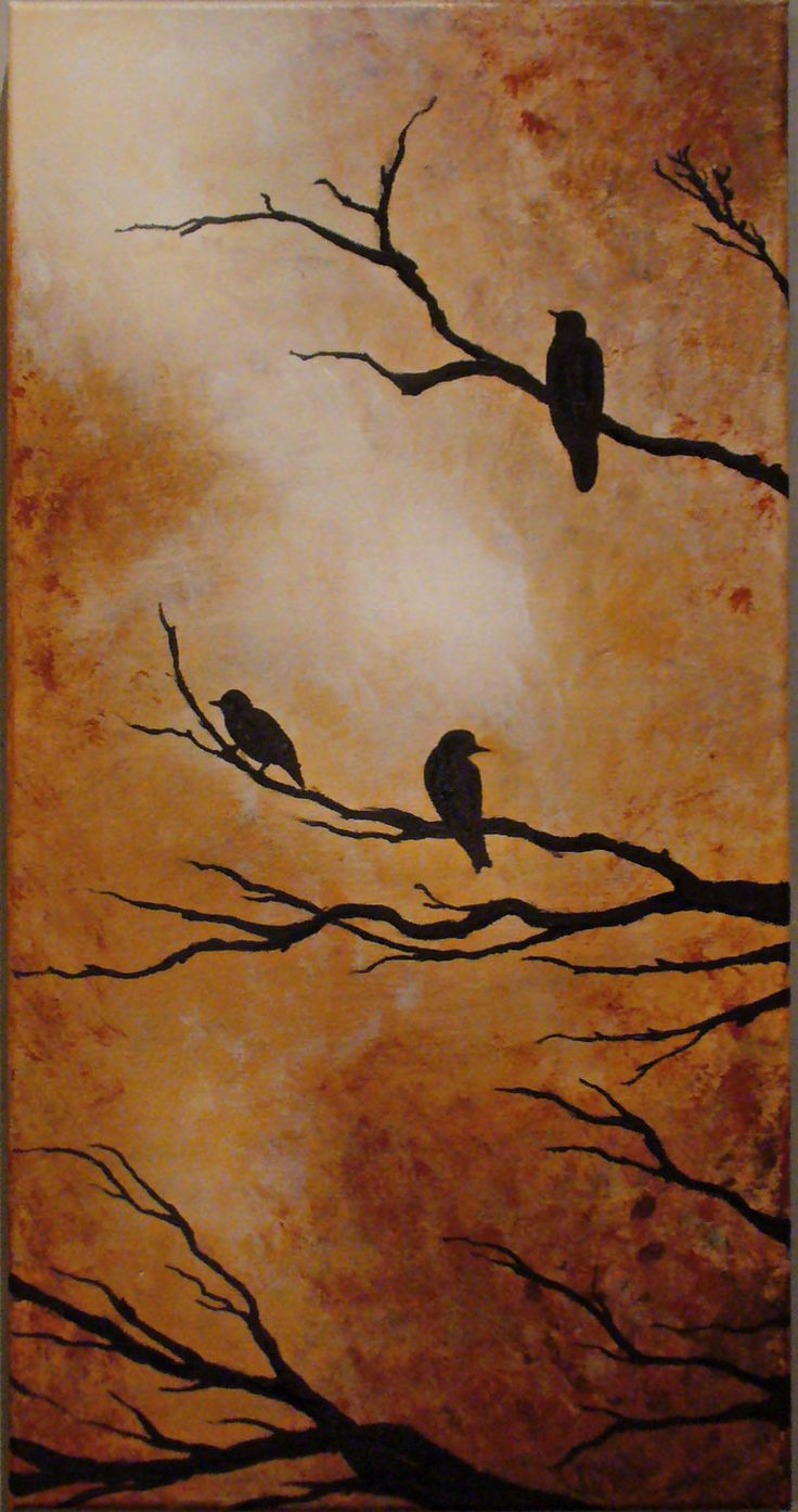 Birds on tree, acrylic on canvas, 20 x 40 cm  all rights reserved