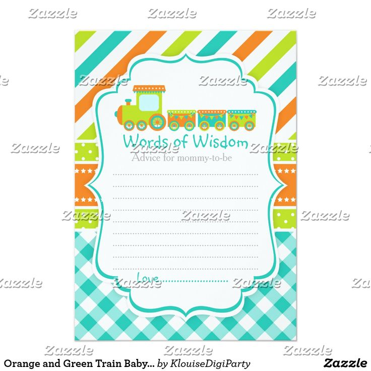 Orange and Green Train Baby Shower Words of Wisdom Card