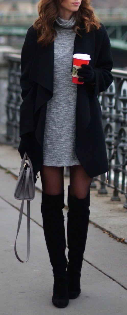 Vestido gris  Abrigo negro  Botas negras rodilla  Bolso gris Otoño invierno