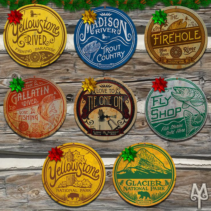 Vintage Fly Fishing and National Park wall signs by Montana Treasures make great holidays gifts. Decorate your cabin with images of Montana. Shop today!