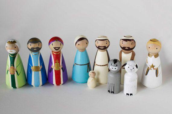 Wooden Peg Dolls NATIVITY by FoxandFreddie on Etsy