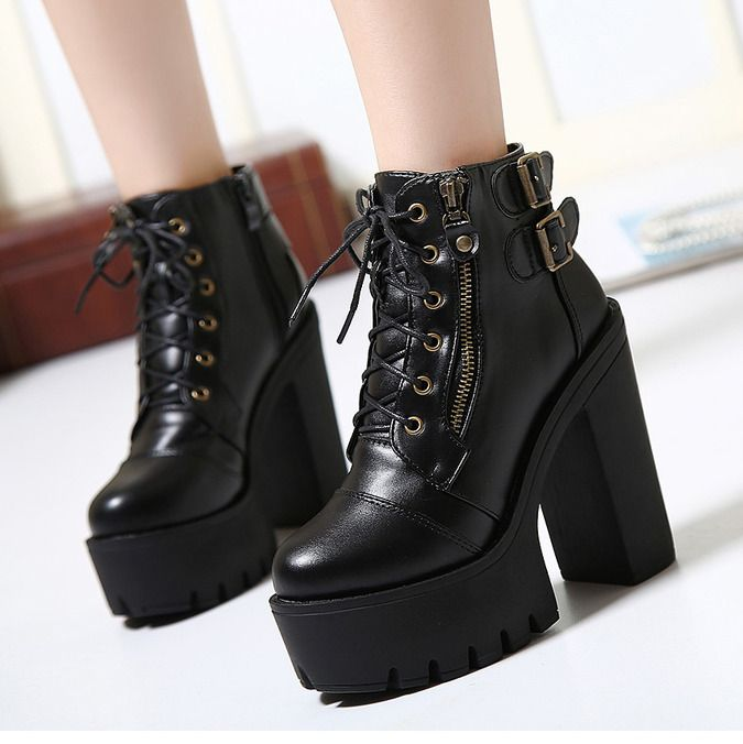5f7168f8f9146 Womens Chunky High Heels Lace Up Buckle Platform Korean Ankle Boots Biker  Shoes | Products | Shoes, Boots, High heel boots