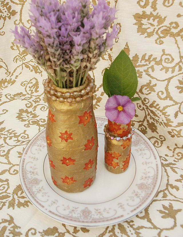 Paper mache and paint over recycled plastic bottles to for Plastic bottle vase craft
