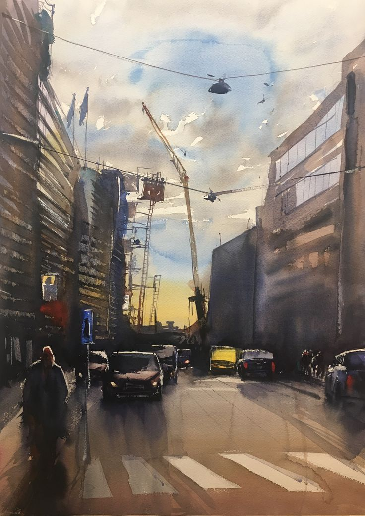 Malmskillnadsgatan, Stockholm, Stefan Gadnell Watercolor