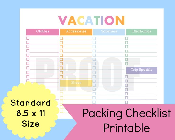 packing list for vacation template - Alannoscrapleftbehind