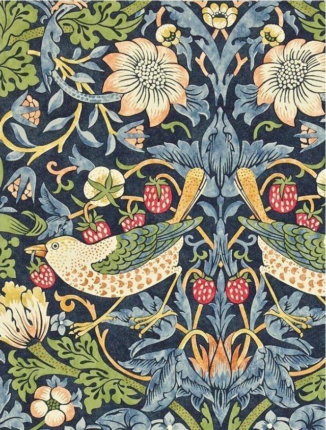 William Morris Wallpaper John Co Strawberry Thief Wallpaper William Morris Wallpaper Borders Uk Morris Wallpapers Wallpaper Crafts William Morris Wallpaper