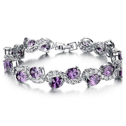 Women Platinum Plated Purple Cubic Zirconia Bracelet Wedding Jewelry (Purple): from Hughdeal4less – Wedding Accessories