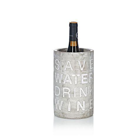 Betonweinkühler, SAVE WATER DRINK WINE, Beton Vorderansicht