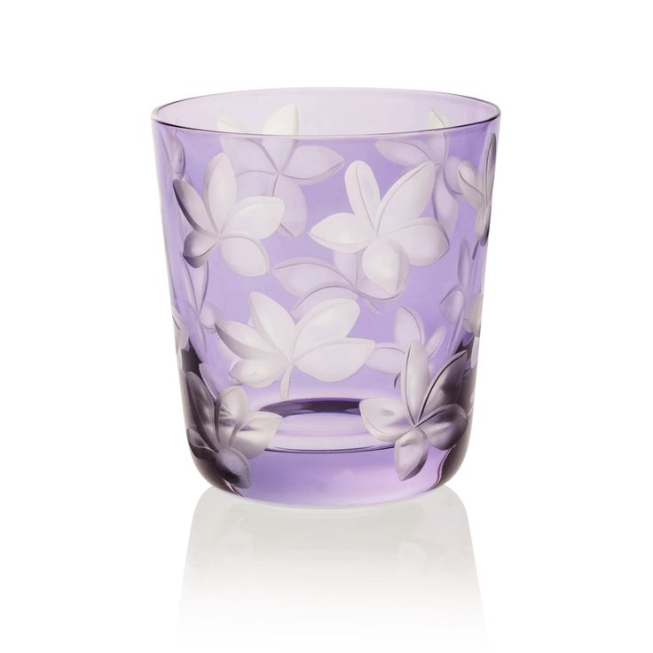 BLOSSOM |  Handmade Glass Blown Small Tumbler, Blossom-Lavender 1922, height: 85 mm | top diameter: 78 mm | volume: 220 ml | Bohemian Crystal | Crystal Glass | Luxurious Glass | Hand Engraved | Original Gift for Everyone | clarescoglass.