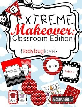 Extreme Makeover: Classroom Edition Lovely Ladybugs Printable classroom theme kit for ladybugs or insects. black and red classroom