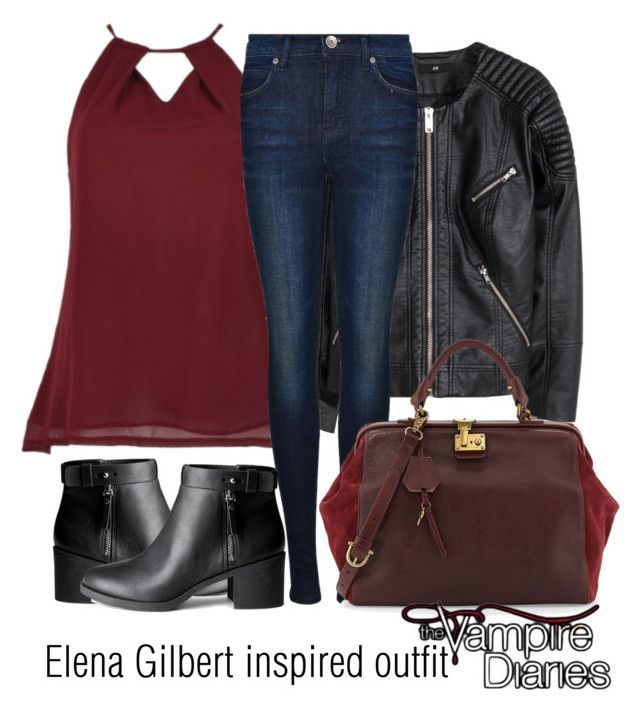 """Elena Gilbert inspired outfit/TVD"" by tvdsarahmichele ❤ liked on Polyvore featuring H&M, Dr. Denim and Etienne Aigner"