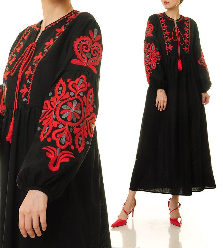 Black Vyshyvanka Dress | Embroidery Dress | Embroidered Dress | Bohemian Dress | Long Sleeve Maxi Dress | Long Black Dress Linen Dress 6418 by Tailored2Modesty on Etsy