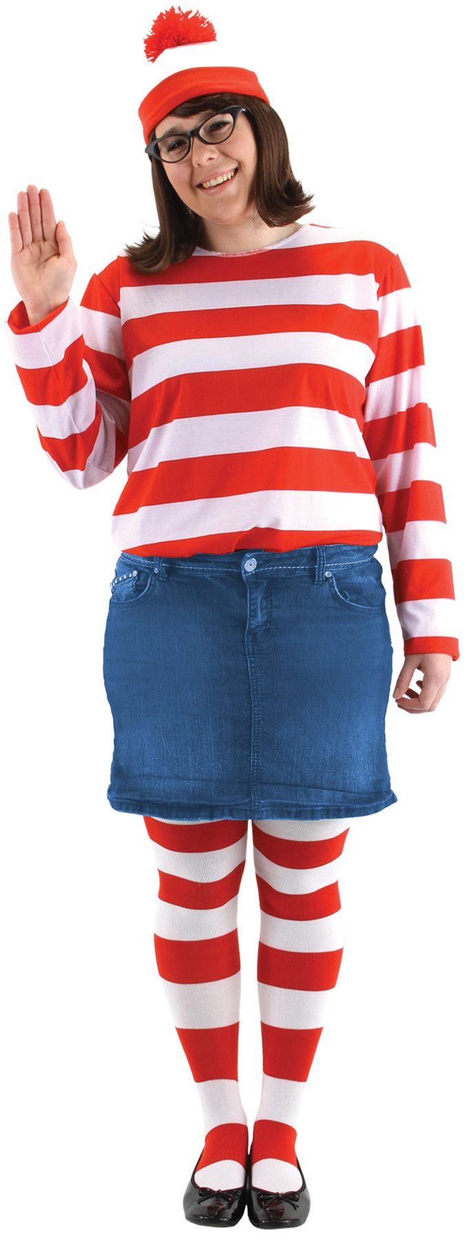 Familiar Waldo hat, glasses, and shirt. Add your own pants or skirt! Adult women's 2X Large fits sizes 20-22.