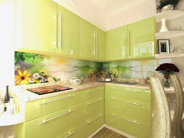Green kitchen, small place, fresh and modern design by Enline design