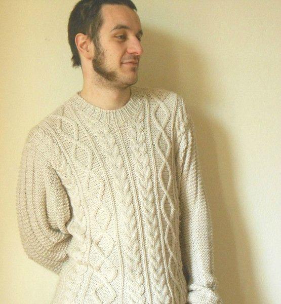 Maglioni - Maglione uomo a disegni aran, su misura - un prodotto unico di cosediisa su DaWanda #fishermansweater #knitsweater #aransweater