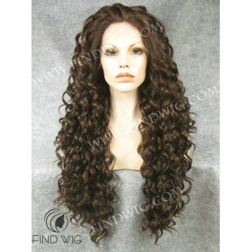 Lace Wig. Curly Dark Chestnut Long Wig. Buy wigs online store