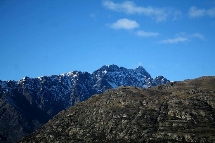 Rocky mountains in Queenstown #mountains #rock #rocky #snow #blue #sky #pretty #nature #landscape #queenstown #nz #newzealand #photography
