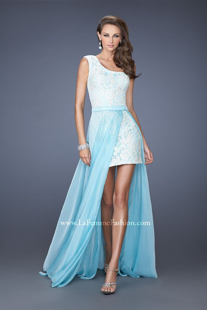 La Femme 19700- one shoulder prom dress- fitted cocktail dress- blue prom dress- lace prom dress- short and long dress- detachable chiffon skirt prom dress- aqua prom dress- short cocktail dress-