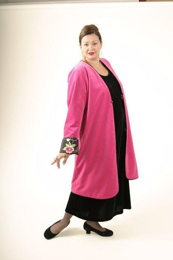 4370588a073 Plus Size Mother of Bride Dress Reversible Jacket Hot Pink Green ...