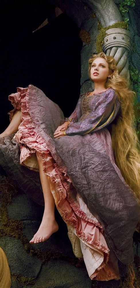 Taylor Swift wearing a Rapunzel dress for Disney