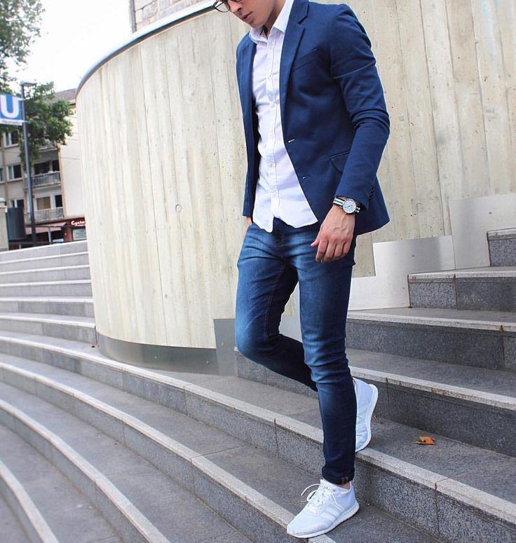 Blue jacket white shirt denim and adidas #sneakers by @trimodavis […